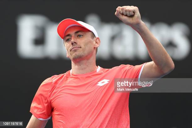 John Millman of Australia celebrates winning match point against Frances Tiafoe of the United States during day three of the 2019 Sydney...