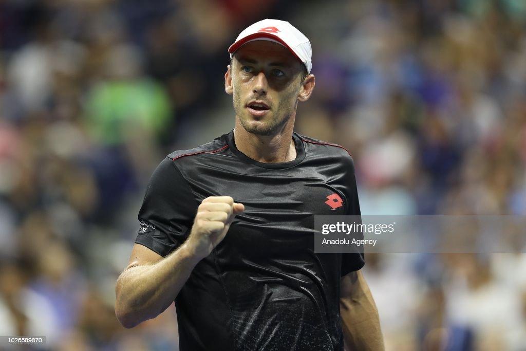 John Millman of Australia competes against Roger Federer (not seen) of Switzerland during US Open 2018 tournament in New York, United States on September 4, 2018.