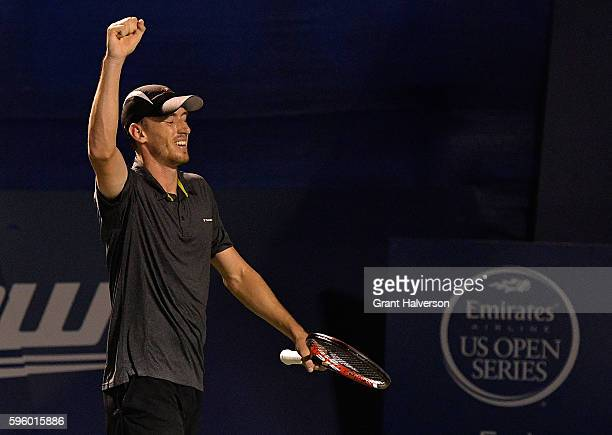 John Millman of Australia during his match against Pablo Carreno Busta of Spain in the semifinals of the WinstonSalem Open at Wake Forest University...