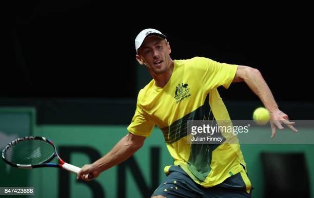 John Millman of Australia in action against David Goffin of Belgium during day one of the Davis Cup World Group semi final match between Belgium and...