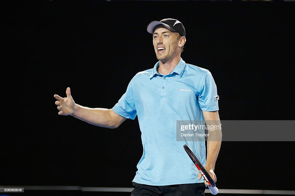 John Millman of Australia looks to his coach in his third round match against Bernard Tomic of Australia during day six of the 2016 Australian Open at Melbourne Park on January 23, 2016 in Melbourne, Australia.