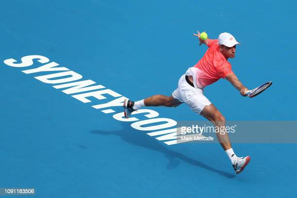 John Millman of Australia plays a backhand in his match against Frances Tiafoe of the United States during day three of the 2019 Sydney International...