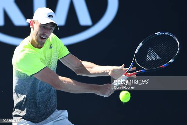 John Millman of Australia plays a backhand in his second round match against Damir Dzumhur of Bosnia and Herzogovina on day three of the 2018...