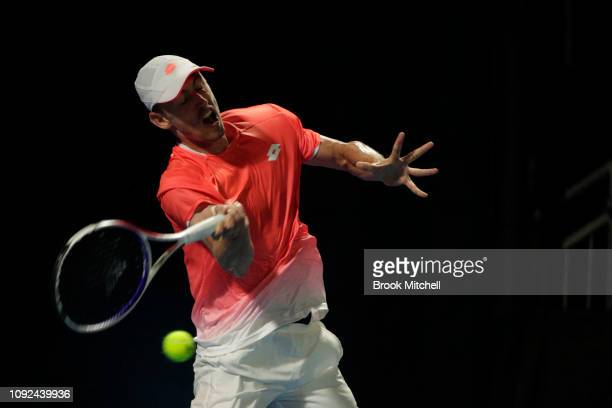 John Millman of Australia plays a forehand during his day five match with Gilles Simon of France at the 2019 Sydney International at the Sydney...