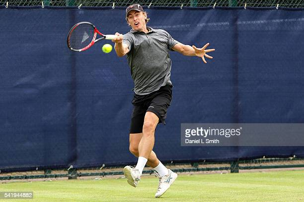 John Millman of Australia plays a forehand during his men's singles match against Steve Johnson of USA during day two of the ATP Aegon Open...