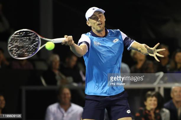 John Millman of Australia plays a forehand during his singles game against Karen Khachanov of Russia during day three of the 2020 Men's ASB Classic...