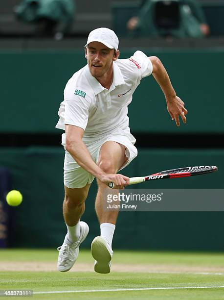 John Millman of Australia plays a forehand during the Men's Singles third round match against Andy Murray of Great Britain on day six of the...