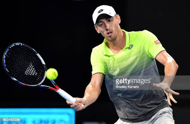 John Millman of Australia plays a forehand in his match against Peter Polansky of Canada during day three of the 2018 Brisbane International at Pat...
