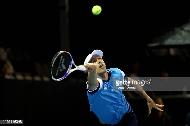 John Millman of Australia plays a shot against Michael Mmoh of USA during day two of the 2020 Men's ASB Classic at ASB Tennis Centre on January 14...