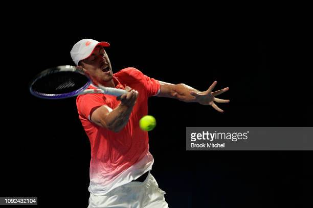 John Millman of Australia plays a stroke during day five of the 2019 Sydney International at the Sydney Olympic Tennis Centre on January 10 2019 in...