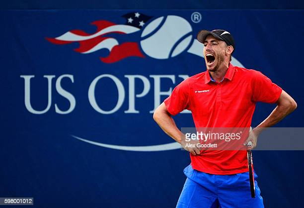 John Millman of Australia reacts against Dominic Thiem of Austria during his first round Men's Singles match on Day Two of the 2016 US Open at the...