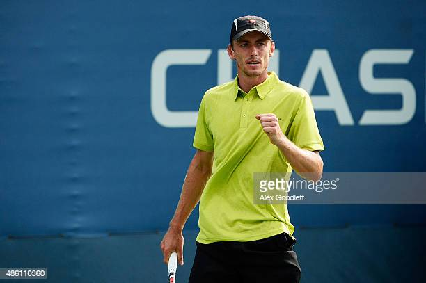John Millman of Australia reacts against Sergiy Stakhovsky of Ukraine during their Men's Singles First Round match on Day One of the 2015 US Open at...
