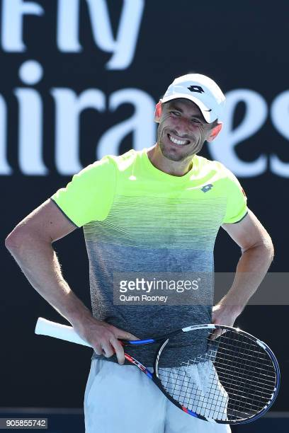 John Millman of Australia reacts in his second round match against Damir Dzumhur of Bosnia and Herzogovina on day three of the 2018 Australian Open...