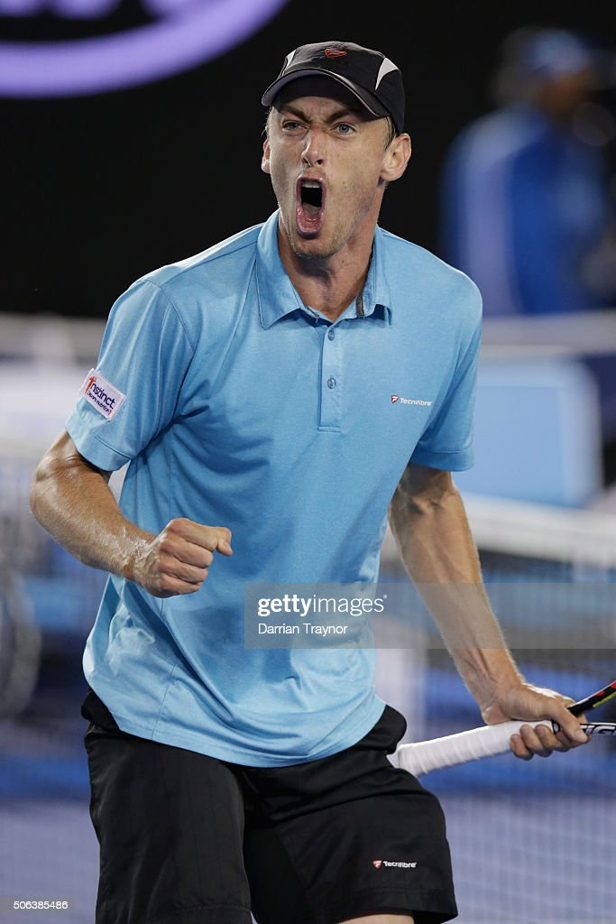 John Millman of Australia reacts in his third round match against Bernard Tomic of Australia during day six of the 2016 Australian Open at Melbourne Park on January 23, 2016 in Melbourne, Australia.