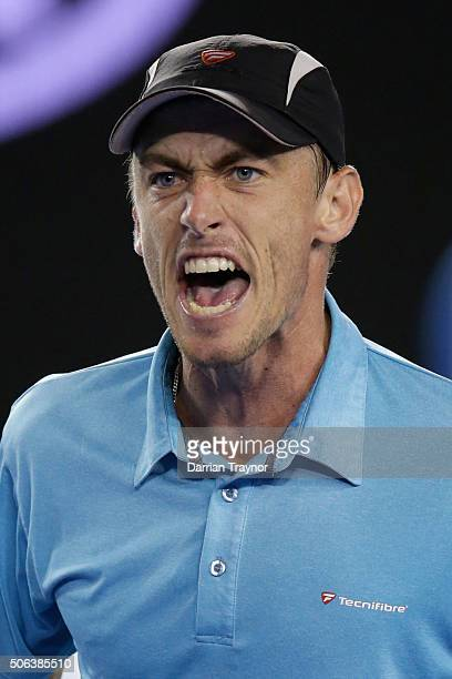 John Millman of Australia reacts in his third round match against Bernard Tomic of Australia during day six of the 2016 Australian Open at Melbourne...