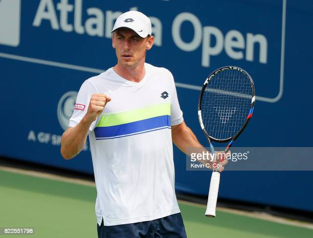 John Millman of Australia reacts in the match against Frances Tiafoe during the BBT Atlanta Open at Atlantic Station on July 25 2017 in Atlanta...
