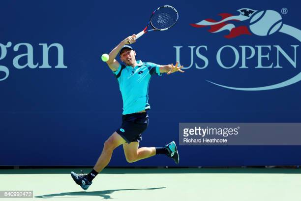 John Millman of Australia returns a shot to Nick Kyrgios of Australia during their first round Men's Singles match on Day Three of the 2017 US Open...