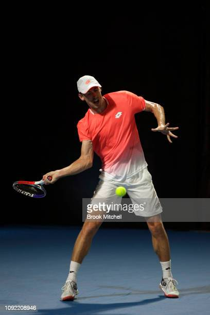 John Millman of Australia returns serve during day five of the 2019 Sydney International at the Sydney Olympic Tennis Centre on January 10 2019 in...