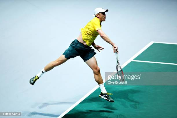 John Millman of Australia serves in his quarter final singles match against Vasek Pospisil of Canada during Day Four of the 2019 Davis Cup at La Caja...