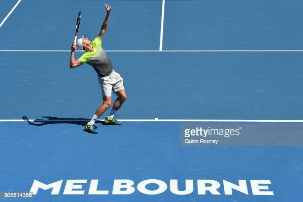 John Millman of Australia serves in his second round match against Damir Dzumhur of Bosnia and Herzogovina on day three of the 2018 Australian Open...
