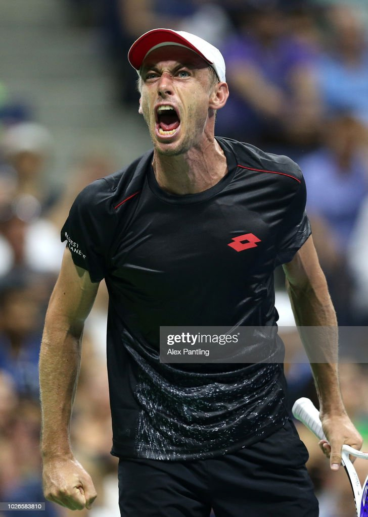 John Millman of Australia shows his emotions during the men's singles fourth round match against Roger Federer of Switzerland on Day Eight of the 2018 US Open at the USTA Billie Jean King National Tennis Center on September 3, 2018 in the Flushing neighborhood of the Queens borough of New York City.