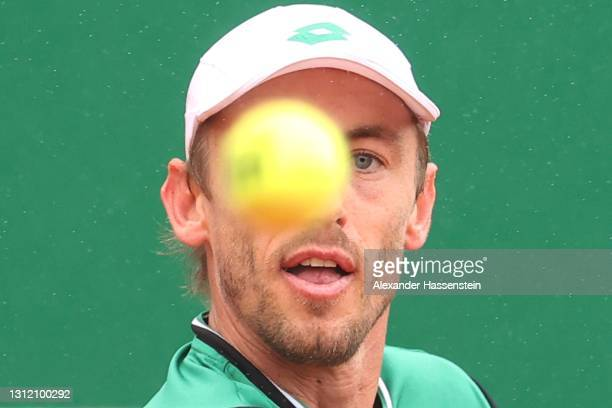 John Millman of Australia watches the ball in his Singles Match against Ugo Humbert of France during the First Round of the Rolex Monte-Carlo Masters...