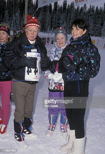 John Mills and Ali MacGraw during Chateau Lake Louise Centennial Celebrity Sports Invitational at Chateau Lake Louise in Lake Louise Alberta Canada