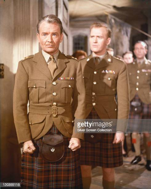 John Mills British actor and Gordon Jackson British actor wearing the uniform of a Scottish Highland regiment in a publicity still issued for the...
