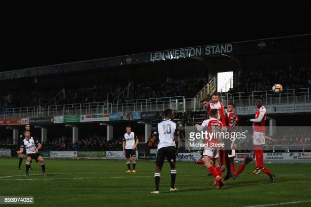 John Mills of Hereford curls a free kick narrowly missing during the Emirates FA Cup second round replay match between Hereford FC and Fleetwood Town...