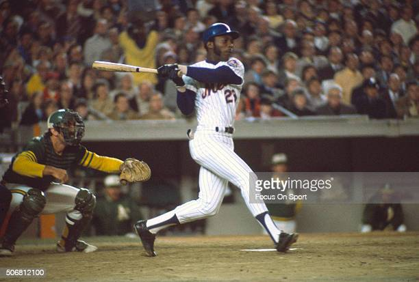 John Milner of the New York Mets bats against the Oakland Athletics during the World Series in October 1973 at Shea Stadium in the Queens borough of...
