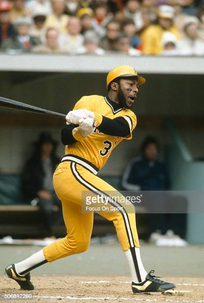 John Milner of the Pittsburgh Pirates bats against the Baltimore Orioles during the World Series October 1979 at Three Rivers Stadium in Pittsburgh...