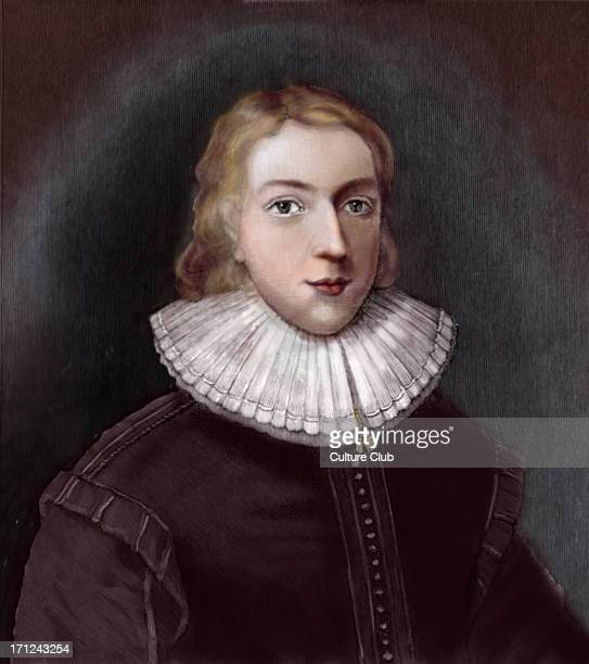 John Milton aged 21in 1731 English poet 9 December 1608 8 November 1674 Engraving by Vertue Ruff around his neck Colourised version
