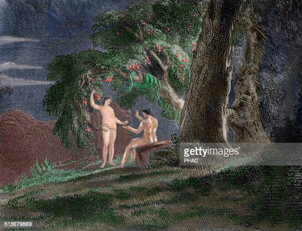 John Milton British poet Paradise Lost 16581667 Eve gives Adam the forbidden fruit Engraving of John Martin Colored