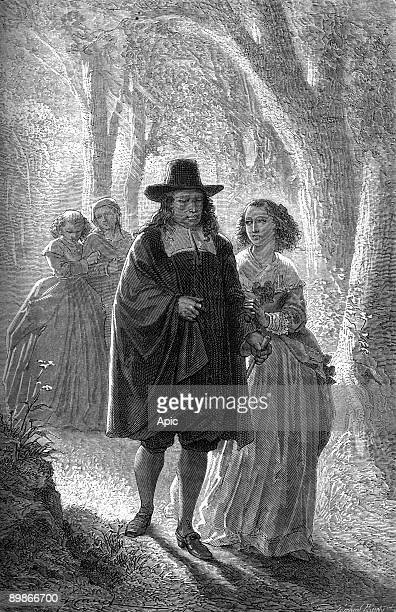 John Milton english blind poet engraving