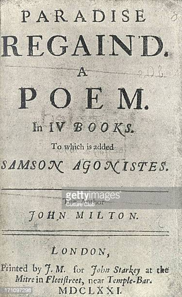 John Milton English poet Title page for ' Paradise Regained ' first edition published London 1671 9th December 1608 8th November 1674
