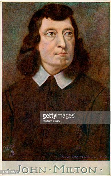 John Milton portrait by C W Quinnell Milton English poet 9 December 1608 8 November 1674 Part of the 'Men of Letters' series by Raphael Tuck and Sons