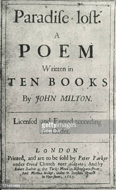 John Milton title page for ' Paradise Lost ' first edition published London 1667 English poet 9 December 1608 8 November 1674
