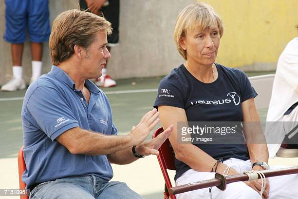 John Miottel and Laureus World Sports Academy Member Martina Navratilova talk during a Sport For Good Project Fight Back martial arts demonstration...