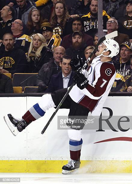 John Mitchell of the Colorado Avalanche celebrates after scoring against the Boston Bruins during the first period at TD Garden on December 8 2016 in...