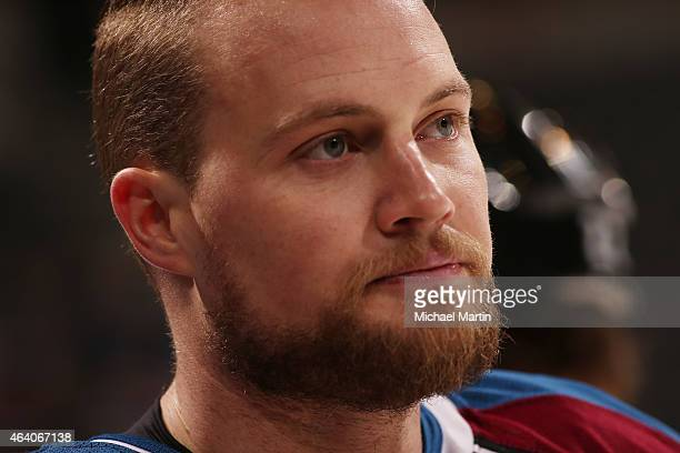 John Mitchell of the Colorado Avalanche pauses during warm ups against the Los Angeles Kings at the Pepsi Center on February 18 2015 in Denver...