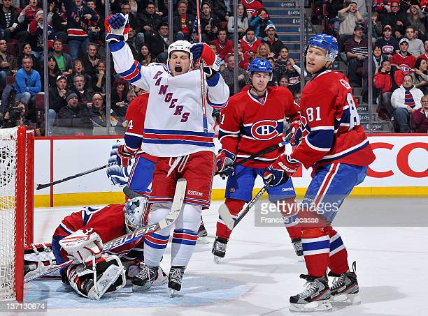 John Mitchell of the New York Rangers celebrates his first period goal during the NHL game against the Montreal Canadiens on January 15, 2012 at the...