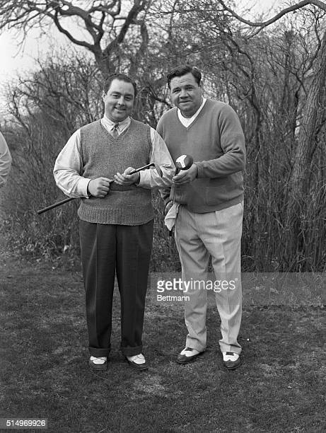 John Montague , Hollywood golf wizard, and Babe Ruth, former king of the baseball sluggers, are pictured at the Fresh Meadow Country Club, Bayside,...
