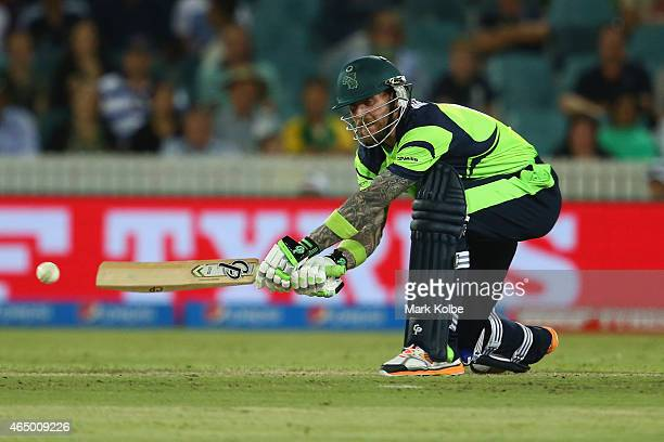 John Mooney of Ireland bats during the 2015 ICC Cricket World Cup match between South Africa and Ireland at Manuka Oval on March 3 2015 in Canberra...