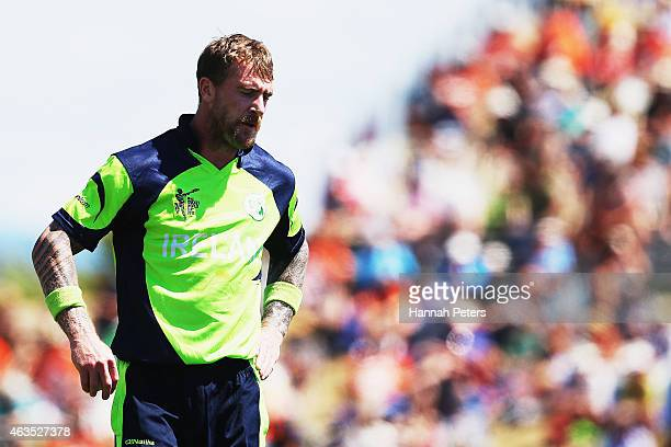 John Mooney of Ireland walks back to his mark during the 2015 ICC Cricket World Cup match between the West Indies and Ireland at Saxton Field on...