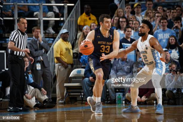 John Mooney of the Notre Dame Fighting Irish dribbles the ball during a game against the North Carolina Tar Heels on February 12 2018 at the Dean...