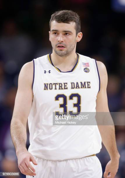 John Mooney of the Notre Dame Fighting Irish is seen during the game against the Pittsburgh Panthers at Purcell Pavilion on February 28 2018 in South...