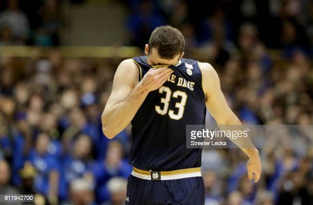 John Mooney of the Notre Dame Fighting Irish reacts after fouling out of the game against the Duke Blue Devils during their game at Cameron Indoor...