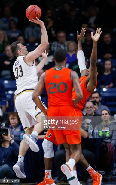 John Mooney of the Notre Dame Fighting Irish shoots the ball against the Miami Hurricanes at Purcell Pavilion on February 19 2018 in South Bend...