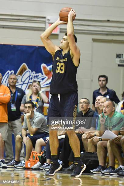 John Mooney of the Notre Dame Fighting Irish takes a jump shot during a semifinal college basketball game at the Maui Invitational against the LSU...