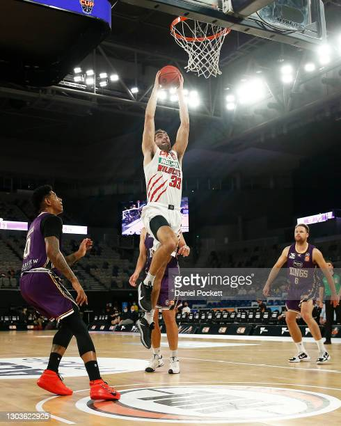 John Mooney of the Wildcats dunks the ball during the NBL Cup match between the Sydney Kings and the Perth Wildcats at John Cain Arena on February 23...